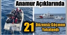 Anamur Açıklarında 21 Düzensiz Göçmen Yakalandı
