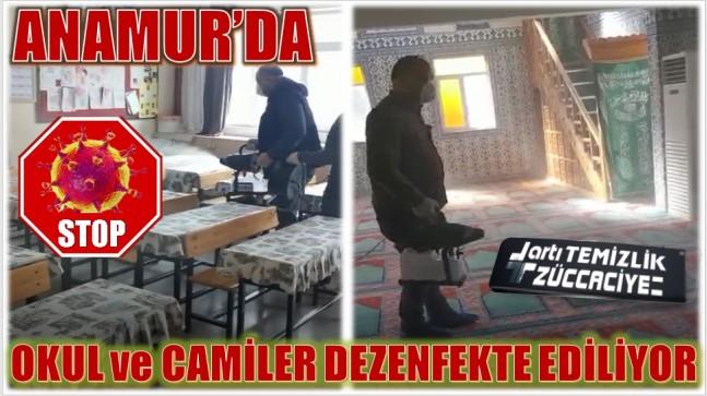ANAMUR'DA,OKUL ve CAMİİ'LER DEZENFEKTE EDİLİYOR