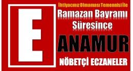 BAYRAM SÜRESİNCE ANAMUR'DA NÖBETÇİ ECZANELER
