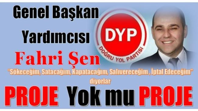 DYP Genel Başkan Yardımcısı ŞEN; PROJE Yok mu PROJE