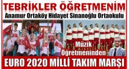 Anamur Ortaköy Hidayet Sinanoğlu Ortaokulu Müzik Öğretmeninden Milli Takım Marşı