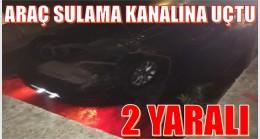Araç Sulama Kanalına Düştü ; 2 Yaralı