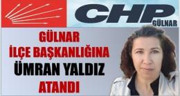 CHP Gülnar İlçe Başkanlığına Ümran YALDIZ Atandı