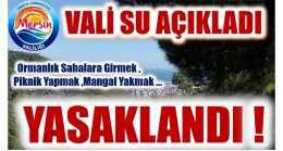 Vali SU Duyurdu ; Ormanlık Sahalara Girmek , Piknik Yapmak , Ateş Yakmak , …