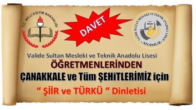 Türkü ve Şiir Dinletisine Davetlisiniz
